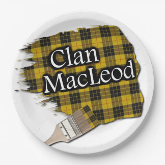 Clan MacLeod Scottish Tartan Paint Brush Paper Plate