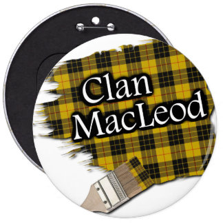 Clan MacLeod Tartan Paint Brush 6 Inch Round Button