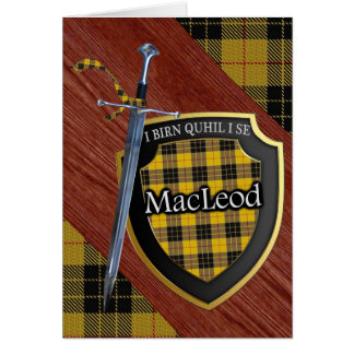 Clan MacLeod Tartan Scottish Shield & Sword Card