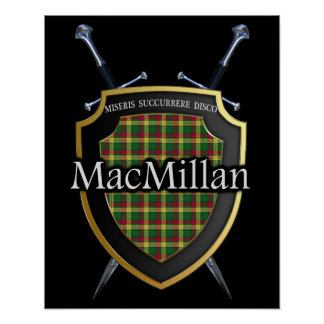 Clan MacMillan Tartan Scottish Shield & Swords Poster