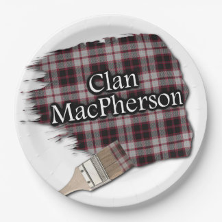 Clan MacPherson Scottish Tartan Paint Brush Paper Plate