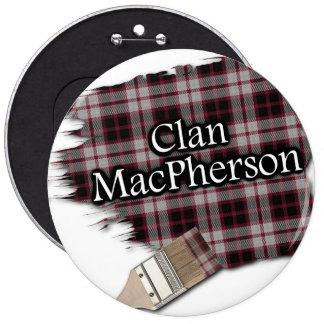 Clan MacPherson Tartan Paint Brush 6 Inch Round Button