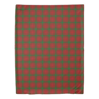 Clan MacQuarrie Scottish Accents Red Green Tartan Duvet Cover