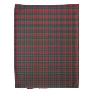 Clan MacQueen Scottish Accents Red Black Tartan Duvet Cover
