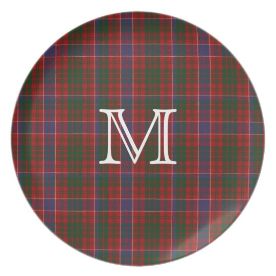 Clan MacRae Monogram Tartan Plaid Plate