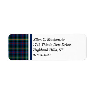 Clan Malcolm Dark Blue and Green Scottish Tartan Return Address Label
