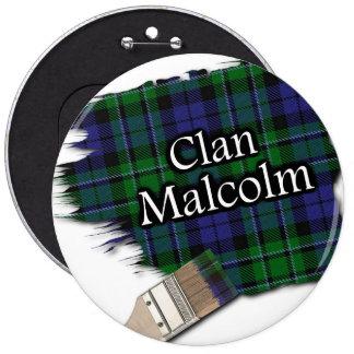 Clan Malcolm Tartan Paint Brush 6 Inch Round Button