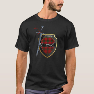 Clan Maxwell Tartan Scottish Shield & Sword T-Shirt