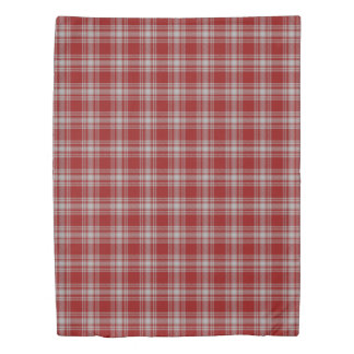 Clan Menzies Scottish Accents Red White Tartan Duvet Cover