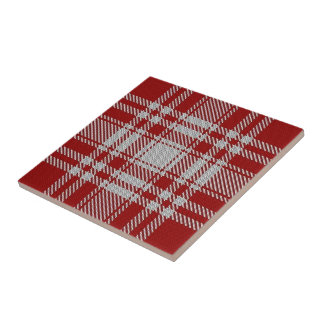 Clan Menzies Scottish Expressions Red White Tartan Tile