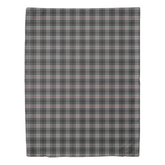 Clan Moffat Scottish Accents Gray Black Tartan Duvet Cover