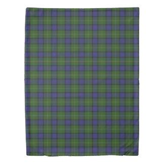 Clan Muir Scottish Accents Green Blue Tartan Duvet Cover