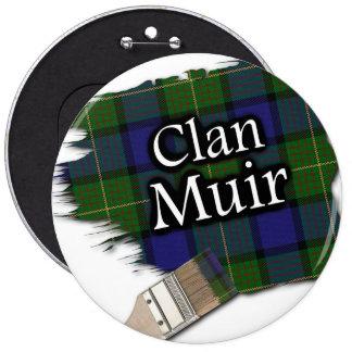 Clan Muir Tartan Paint Brush 6 Inch Round Button