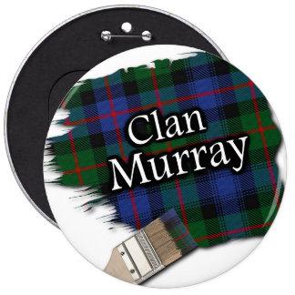 Clan Murray Tartan Paint Brush 6 Inch Round Button