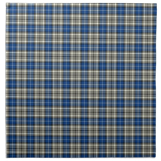 Clan Napier Blue, Black, and White Scottish Tartan Napkins