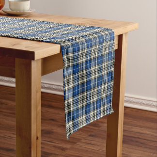 Clan Napier Blue, Black, and White Scottish Tartan Short Table Runner
