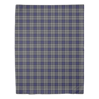 Clan Napier Scottish Accents Blue and White Tartan Duvet Cover