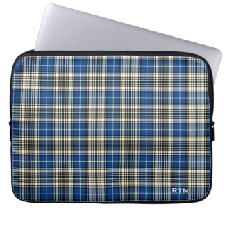 Clan Napier Tartan Royal Blue Plaid Monogram Laptop Sleeve