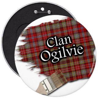 Clan Ogilvie Tartan Paint Brush 6 Inch Round Button