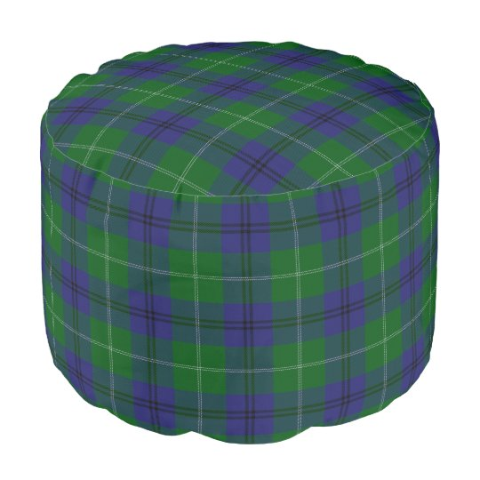 Clan Oliphant Scottish Style Green Blue Tartan Pouf