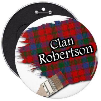 Clan Robertson Tartan Paint Brush 6 Inch Round Button