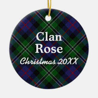 Clan Rose Scottish Hunting Tartan Ceramic Ornament