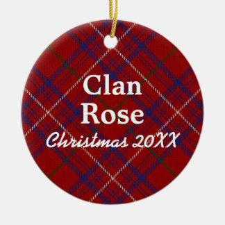 Clan Rose Scottish Modern Red Tartan Ceramic Ornament