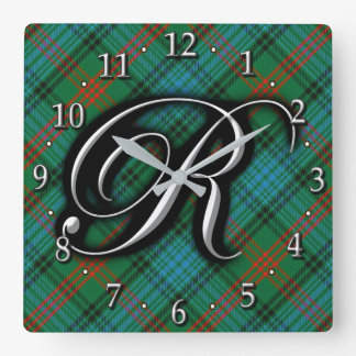 Clan Ross Letter R Monogram Blue Green Tartan Square Wall Clock
