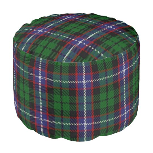 Clan Russell Scottish Style Blue Green Tartan Pouf