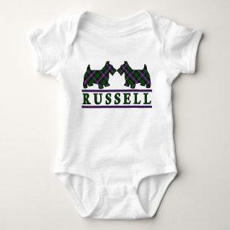 Clan Russell Tartan Scottie Dogs Baby Bodysuit