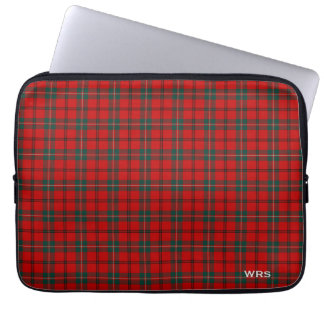 Clan Scott Tartan Red and Green Plaid Monogram Laptop Sleeve