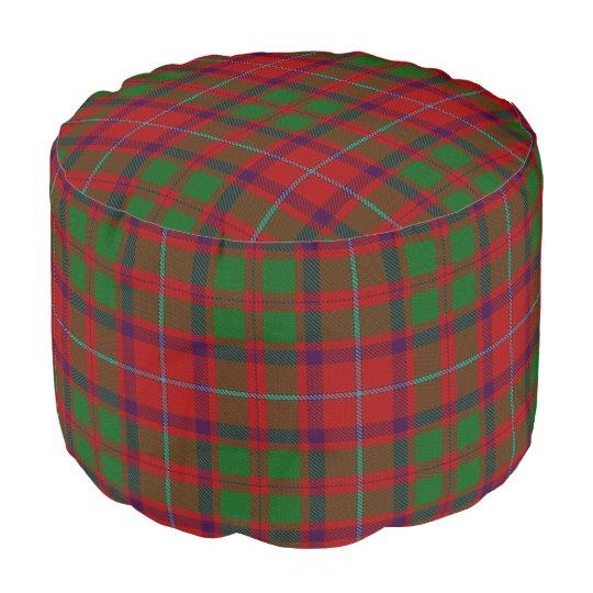 Clan Shaw Scottish Style Red Green Tartan Pouf