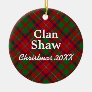 Clan Shaw Scottish Tartan Ceramic Ornament