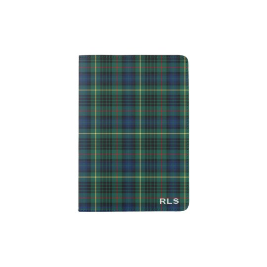 Clan Stewart Hunting Tartan Green Plaid Monogram Passport Holder