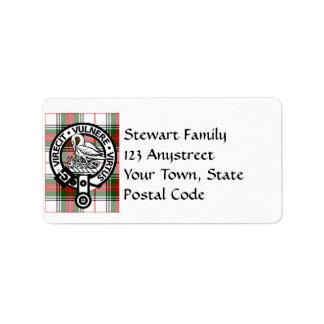 Clan Stewart Tartan Crest Address Labels