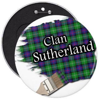 Clan Sutherland Tartan Paint Brush 6 Inch Round Button