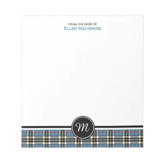 Clan Thompson Blue Dress Tartan Monogram Notepad