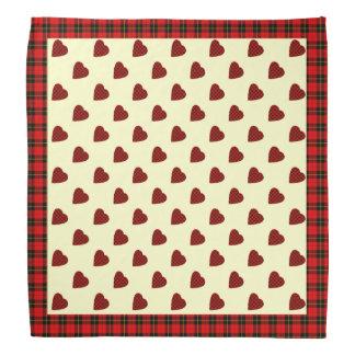 Clan Wallace Tartan Heart Pattern Bandana