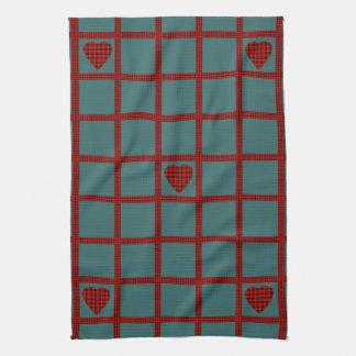 Clan Wallace Tartan Heart Pattern Tea Towel