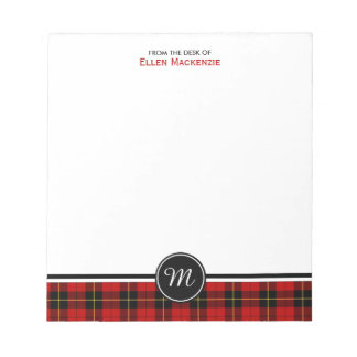 Clan Wallace Tartan Monogram Notepad