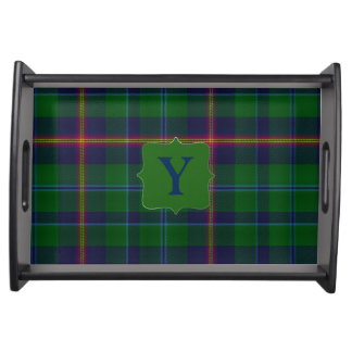 Clan Young Plaid Monogram Serving Tray