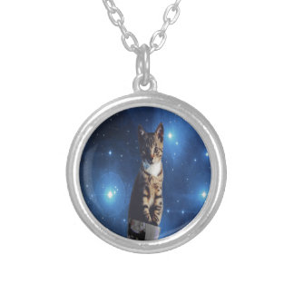 Clancy the Space Cat Silver Plated Necklace