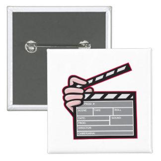 Clapboard Clapperboard Clapper Front Pinback Button