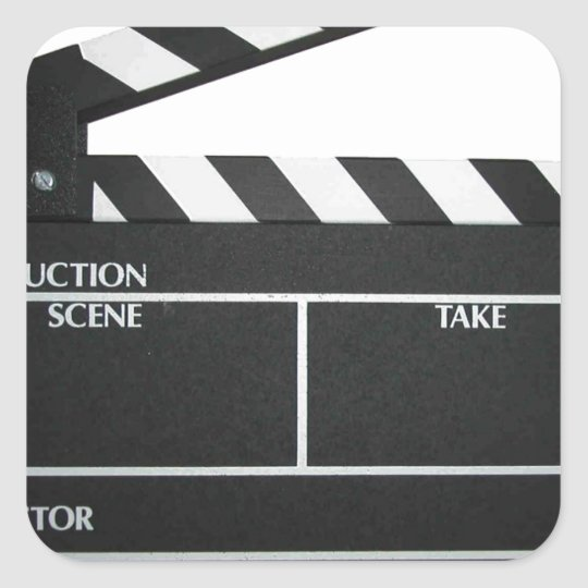 Clapboard movie slate clapper film square sticker