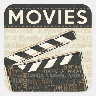 Clapet vintage de film sticker carré