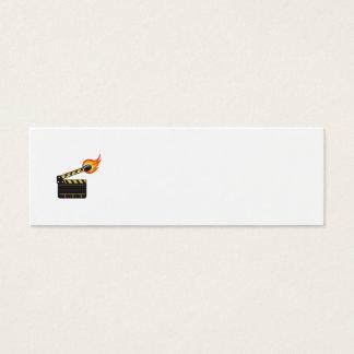 Clapper Board Match Stick On Fire Retro Mini Business Card