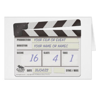 CLAPPER BOARD note card - add your own text