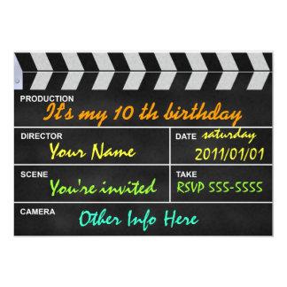 "clapperboard cinema 5"" x 7"" invitation card"