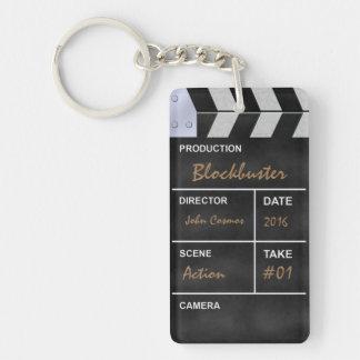 Clapperboard cinema Double-Sided rectangular acrylic keychain