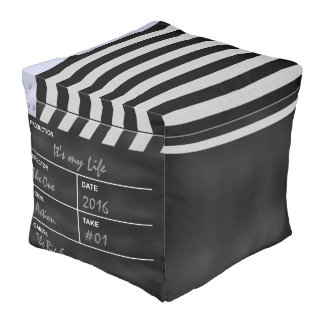 """clapperboard cinema """"It's my Life"""" Cube Pouf"""